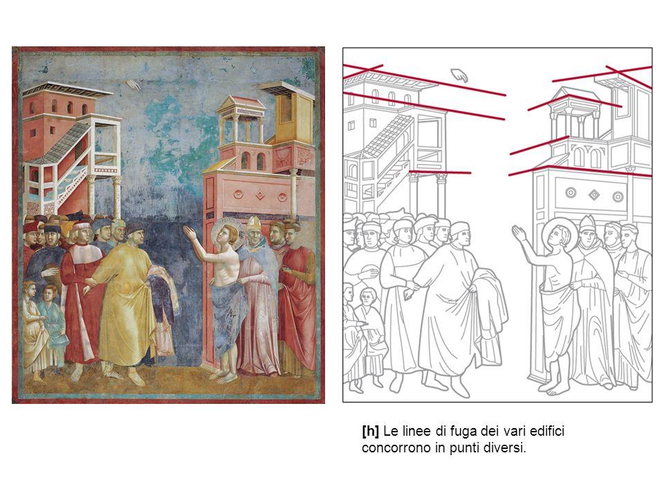 [h] Le linee di fuga dei vari edifici concorrono in punti diversi.